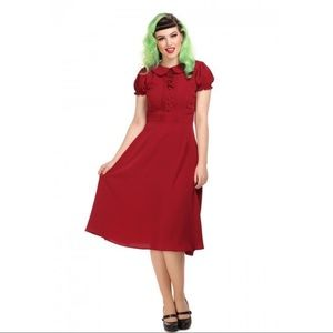 COLLECTIF Deep Red Giannina Swing Dress